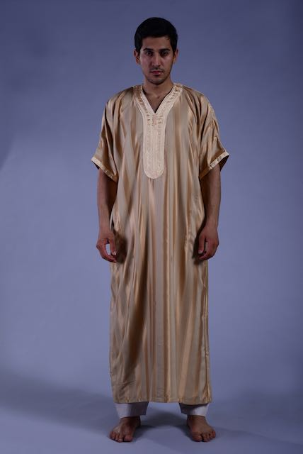 Hot Selling New Coming Moroccan Men Clothing Stripe Embroidered Caftan 2021