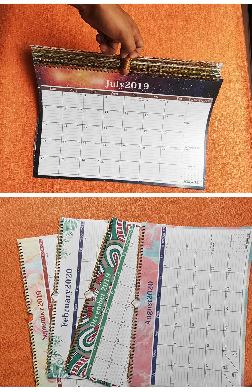 2020-2021 календарь-18 месяцев настенный календарь с юлианской даты, плотная бумага для организовать и планирования, правили блоки, прочные, золото с проволочной обмоткой