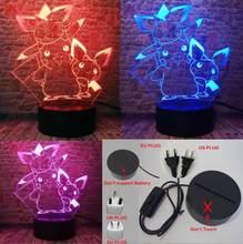 Милый 3D Сказочный Pokeball Pikachu, игровой Покемон го, фигурка, RGB, 7 цветов, светодиодный светильник для сна, вентиляторы для мальчиков, декор для сп...(Китай)
