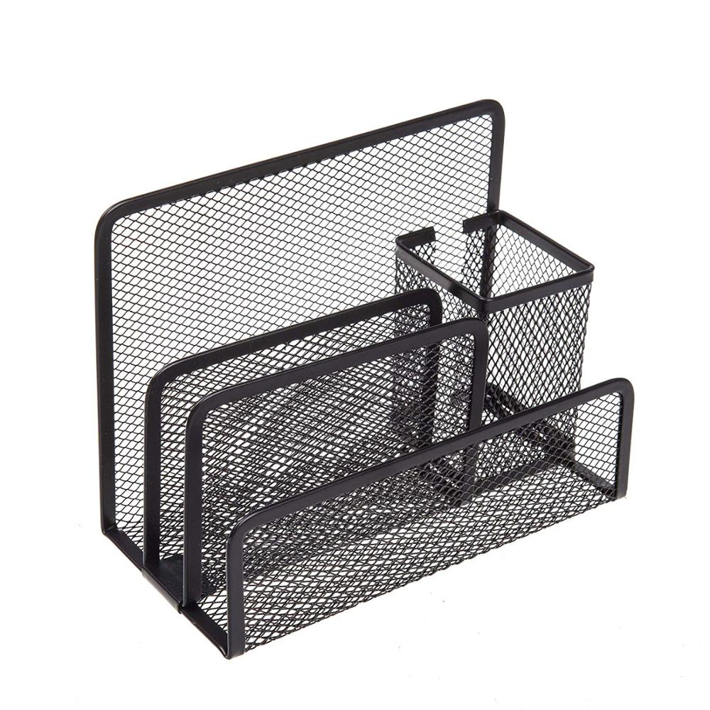 School office supply customized package black wire mesh metal iron 4 slots table desktop pen holder letter holder