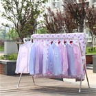 Stand Coat Clothes Drying Stand Factory Stand Type Garment Double Pole Telescopic Clothes Metal Coat Display Drying Rack