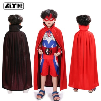 Wholesale Cosplay Costumes Props SuperHero Vampire Wizard Witch Cape Red and Black Double-sided Halloween Party Cloak