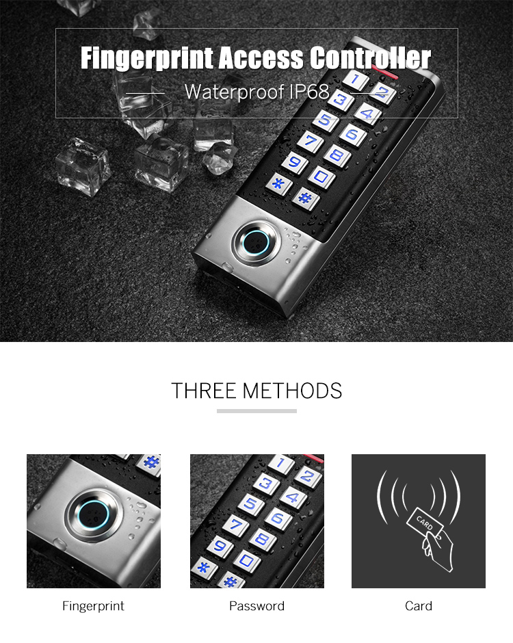 IP68 Fingerprint Standalone Access Control System For Metal Access Control Keypad