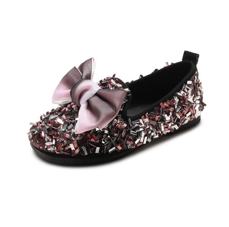 Детская обувь с яркими бриллиантами, блестящая мягкая обувь для девочек, кожаная обувь принцессы