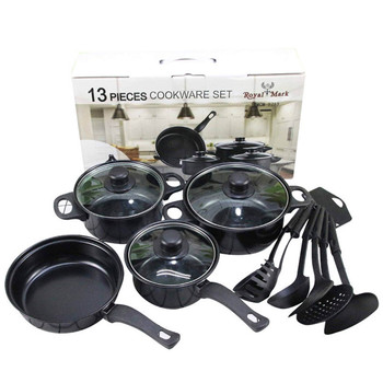 Newest product stainless steel cookware set 13pcs Frying pan cookware sets on sale nonstick Fine iron cookware sets non stick