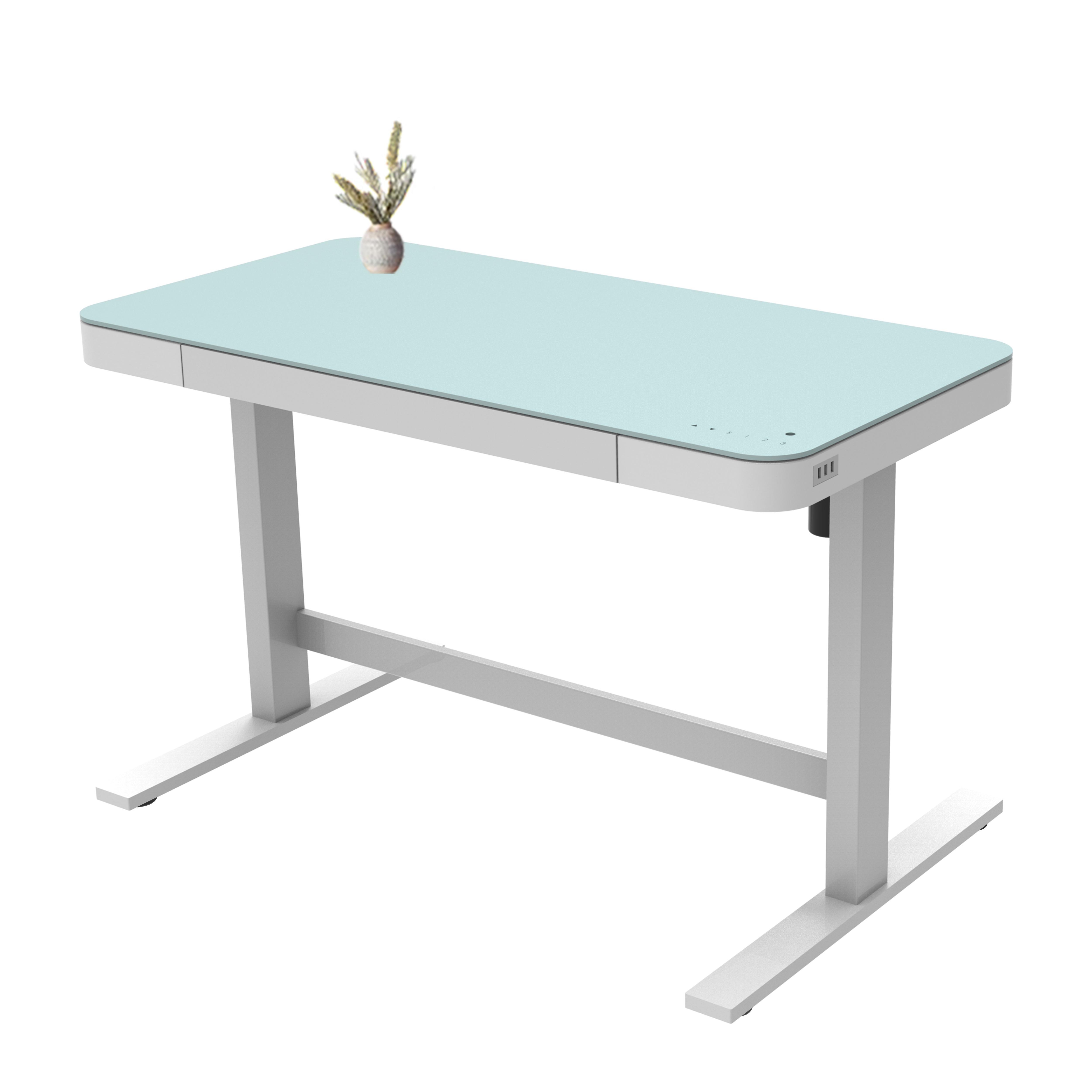 Подъемный стол с регулируемой высотой, Электрический белый подъемный стол со стеклянной крышкой и двойным Usb-зарядным устройством