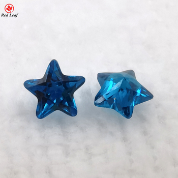 Synthetic Aquamarine Gemstone Five Pointed Star Cz Precious Stone Loose Cubic Zirconia Gems