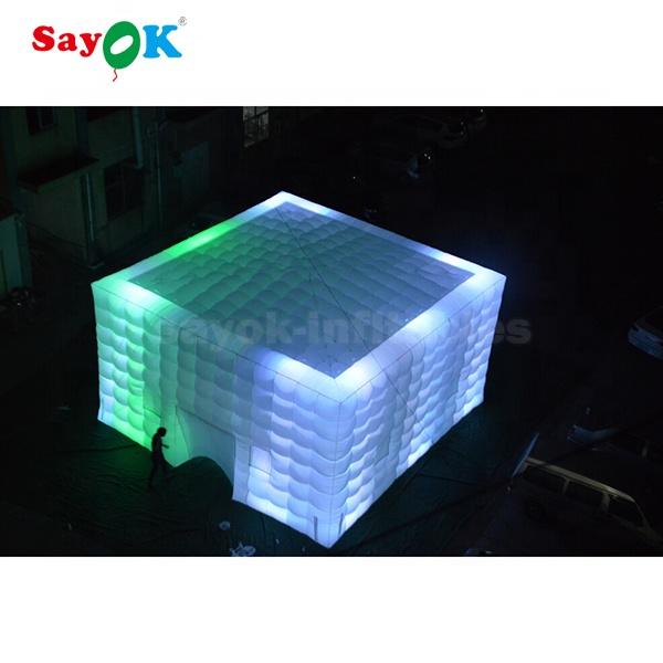 Большой куб, Свадебная вечеринка, светодиодная подсветка, надувная палатка для кемпинга, цена для мероприятий на открытом воздухе