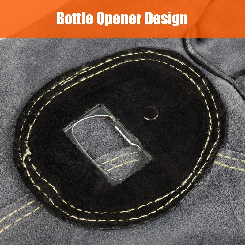 Leather Grill Barbecue Gloves with Bottle Opener Cow Split Suede Glove Mitten