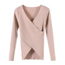 Женский вязаный свитер, однотонный, v-образный вырез, длинный рукав, Осень-зима, вязанный крест, базовая туника, топы, блузка, женская одежда ...(Китай)