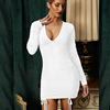 לבן-ארוך שרוול שרוך ruched שמלה