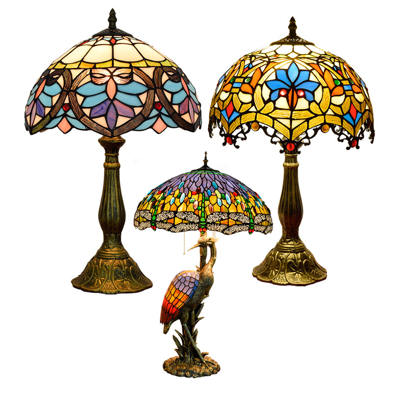 8 12' 16'' nordic antique luxury stained glass lighting lampen shade vintage bedside night decoration light tiffany table lamp