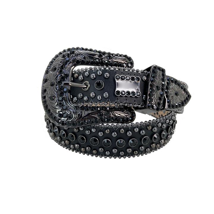 Black for bb simon Rhinestone Men Belts Crystal Crafts Crocodile grain Belts for men in pu leather