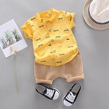 Одежда Mardi gras; Новинка; модная футболка с принтом для маленьких мальчиков; топы; однотонные шорты; брюки; комплект для джентльмена; детская од...(Китай)