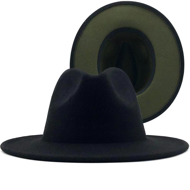 High Quality Wholesale Fake Wool Felt Fedora Hat For Men 2 tone hat different color brim fedora hat for women