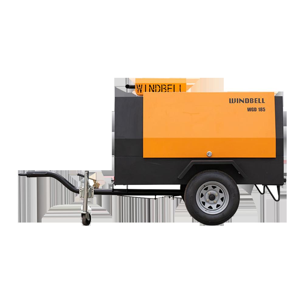 21Bar Screw Diesel Air Compressor 185 Cfm Air Compressor Diesel Portable Mining Air Compressor Diesel Engine 185Cfm Jack Hammer