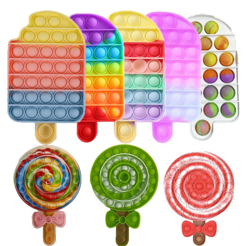 Popit Fidget Popit Reliver Stress Toys Rainbow Push Its Bubble Antistress Toys Adult Children Sensory Toy Empujar La Burbuja Pop