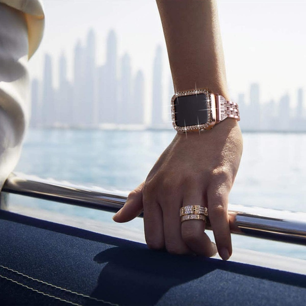 Блестящий Алмазный защитный чехол-бампер для Apple Watch Series 6 SE 5 4 3 2 1 Gold Concept для iwatch 40 мм 44 мм 38 мм 42 мм
