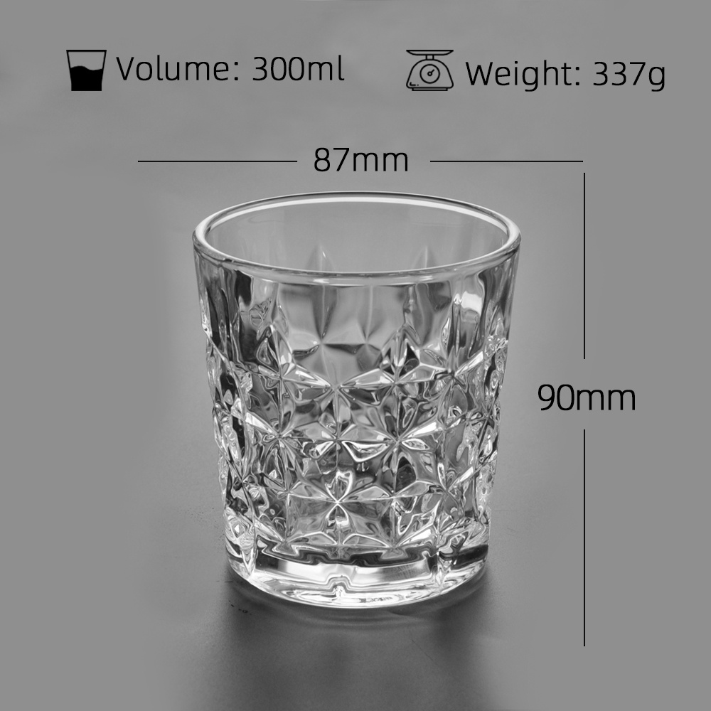 Whiskey tumbler cup without handle drinking glass cup diamond design clear