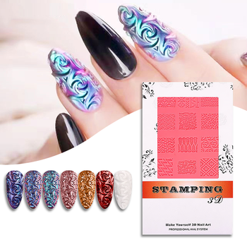 3D Silicon Mat Art Stamper Manicure Tool Nail Stamping Plate Embossed Template Crystal Soft Gel Glue Powder