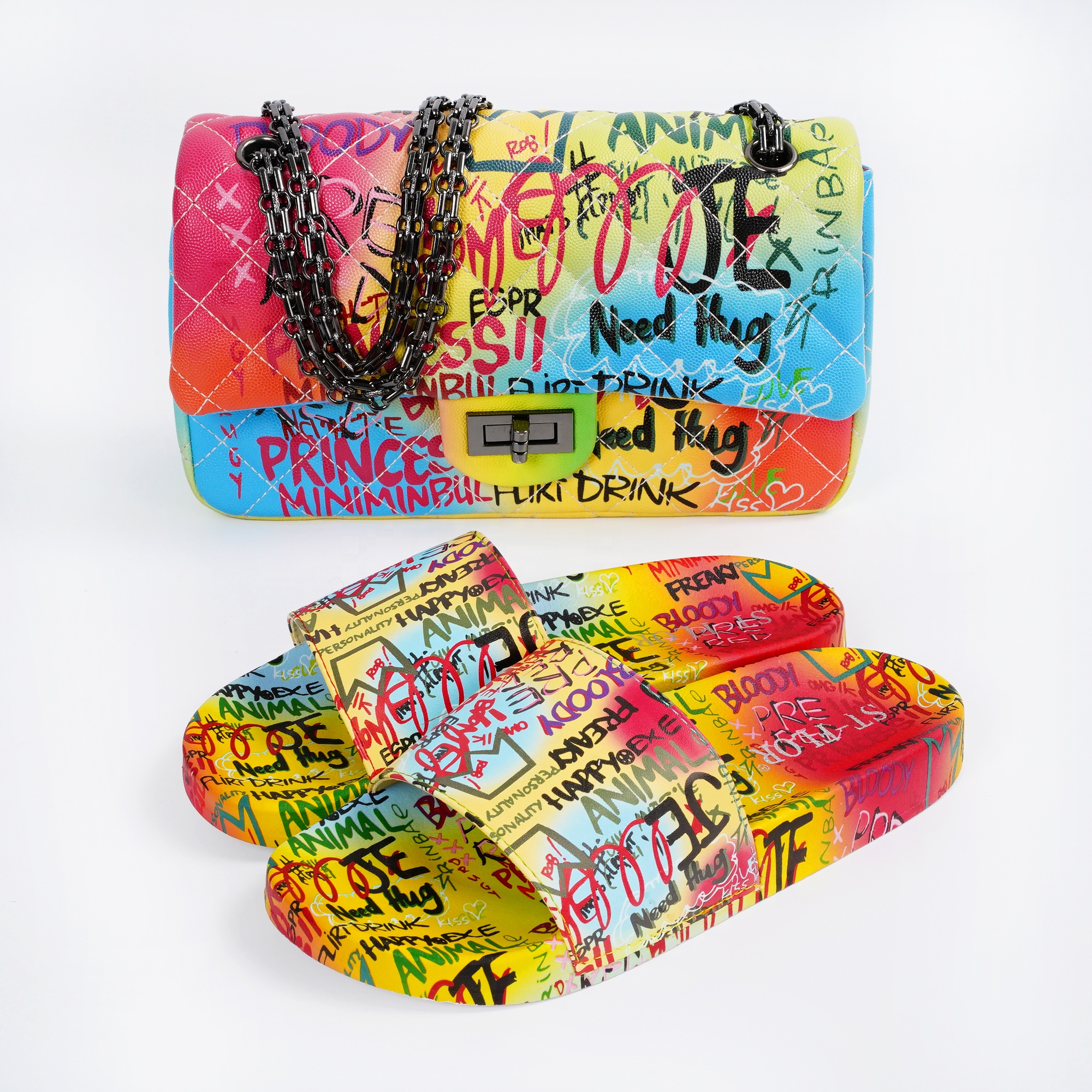 new trend graffiti purses and slippers sets pu leather crossbody handbags with flat graffiti sandals for lady fashion sets
