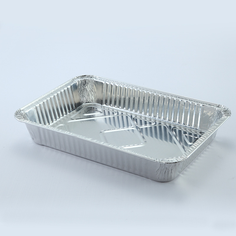 Disposable Oblong disposable aluminum foil container take out pans with lid