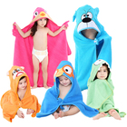 Kids cartoon baby beach towel hooded children animal cotton bath towel for warmer