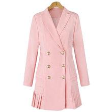 Женский блейзер с длинным рукавом, двубортный офисный пиджак с отложным воротником, элегантное Плиссированное короткое платье для женщин р...(Китай)