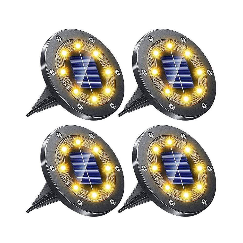 New Design Black Color Solar Panel Lawn Light 8LED Garden Disk Lights For Retail And Wholesale