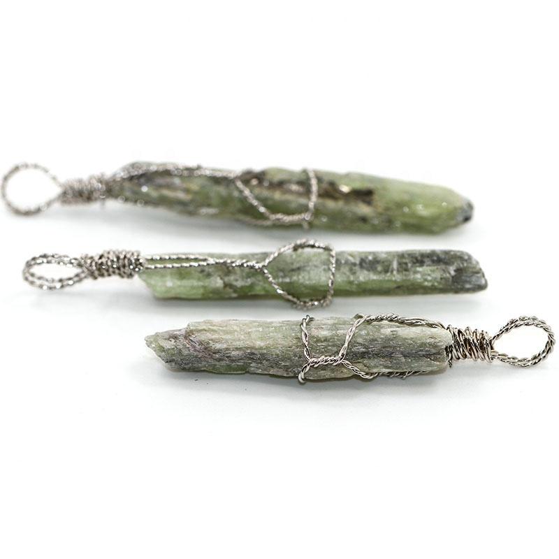 Silver Color Wire Wrap Irregular Natural Gemstone Green Quartz Stone Necklaces Pendants for Women