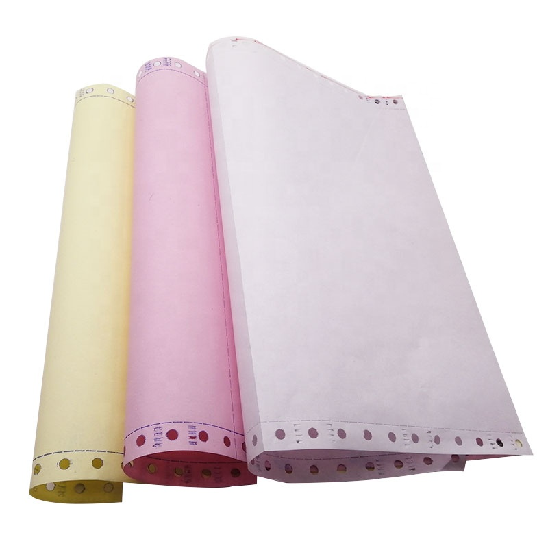 Wholesale Price3-plycontinuous NCR computer form printer roll carbonless Copy paper
