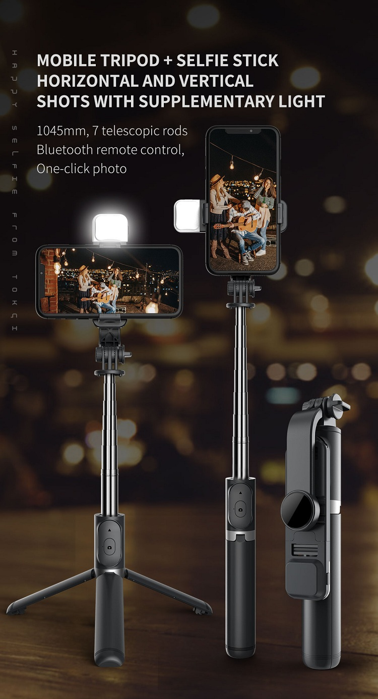 Q02s Wireless Remote Control Monopod Selfie Stick Bluetooths Tripod 3 in 1 with LED Fill Light for Smartphone