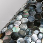 Mother Of Pearl Shell Tile Hexagon Tile Black High Quality Hotel Wall Decoration Hexagon Natural Black Mother Of Pearl Shell Msoaic Tile