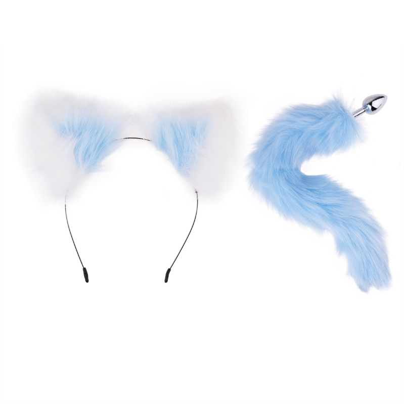 Faux Fur Animal Ears Headband Headdress /& Tail Chrome Metal Plug Set Cosplay Toy