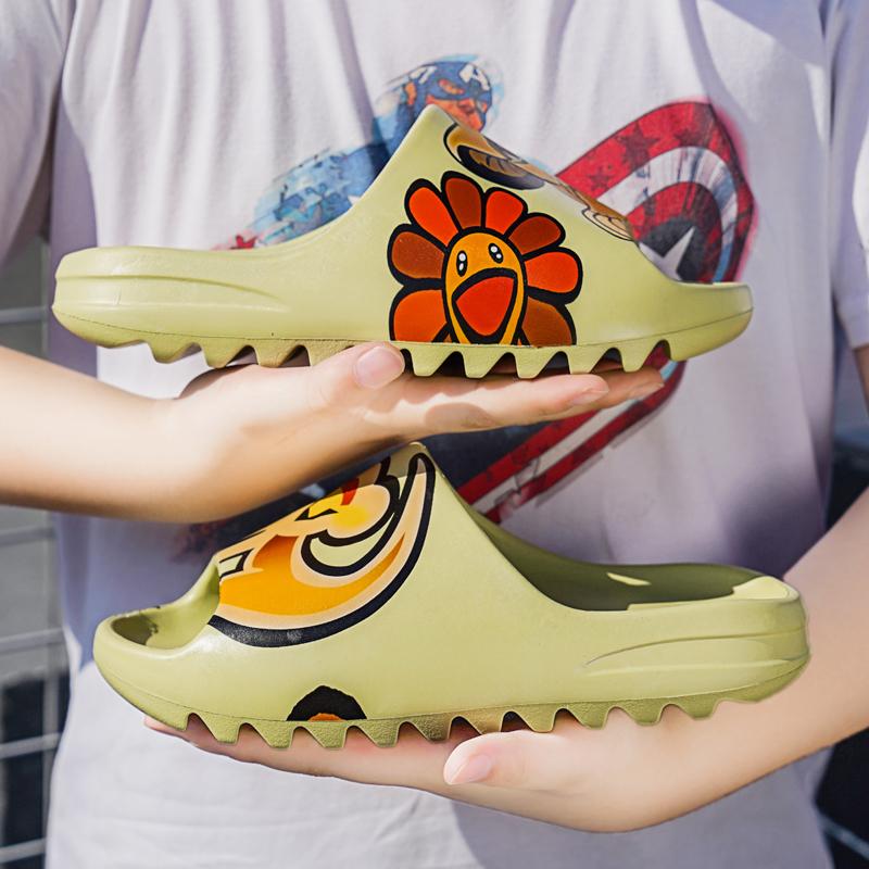 Оригинальный Высокое качество логотип бренда на заказ женская обувь Yeezy Тапочки Дети сечением для кроссовок Yeezy обувь для мужчин для кроссовок Yeezy слайд