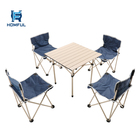 HOMFUL Lightweight Seat Stool Portable Folding Camping Table 4 Chairs Set