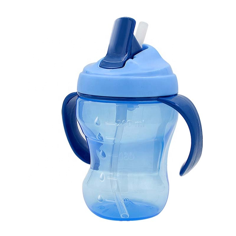 260ml Food Grade Silicone Straw Baby Learner Drinking Bottle Water Trainer Feeding Cup With Handle