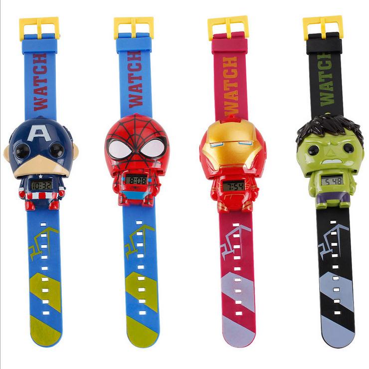 Недорогие детские часы унисекс из мультфильма, детские модные часы, деформируемые цифровые часы с героями marvel для детей