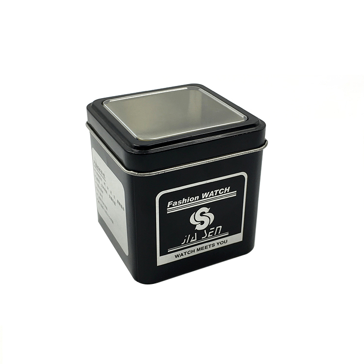 Wholesales Cheap Price High Quality Empty Candy Cookie Tin Can With Clear Windows Watch Tin Boxes With PVC Windows