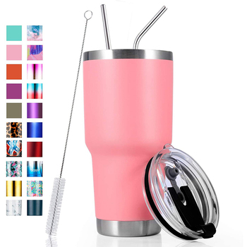 30oz Double Wall Vacuum Insulated Tumbler Cups Stainless Steel Coffee/Tea/ Beer Tumbler In Bulk With Lid And Straw