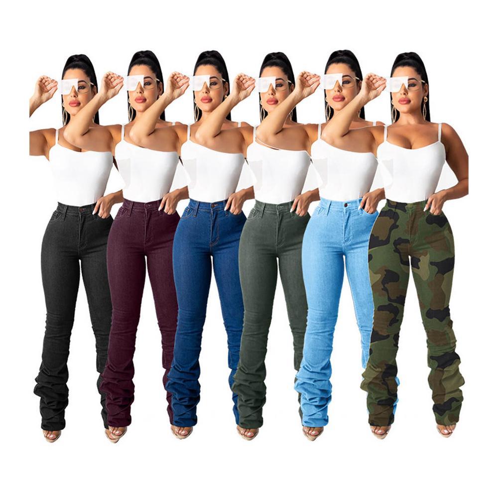 Kp74065 2021 Nueva Moda De Otono De Las Mujeres Ropa De Color Solido Pantalones Vaqueros Pantalones Para Mujeres Mediados De Cintura Montones De Mujeres Jeans Denim Buy Pantalones Vaqueros De Mujer Tela