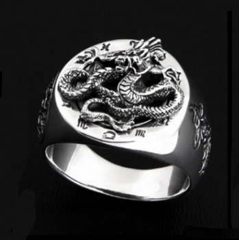 Dragon in the east domineering personality Thai silver dragon ring men 925 Sterling silver