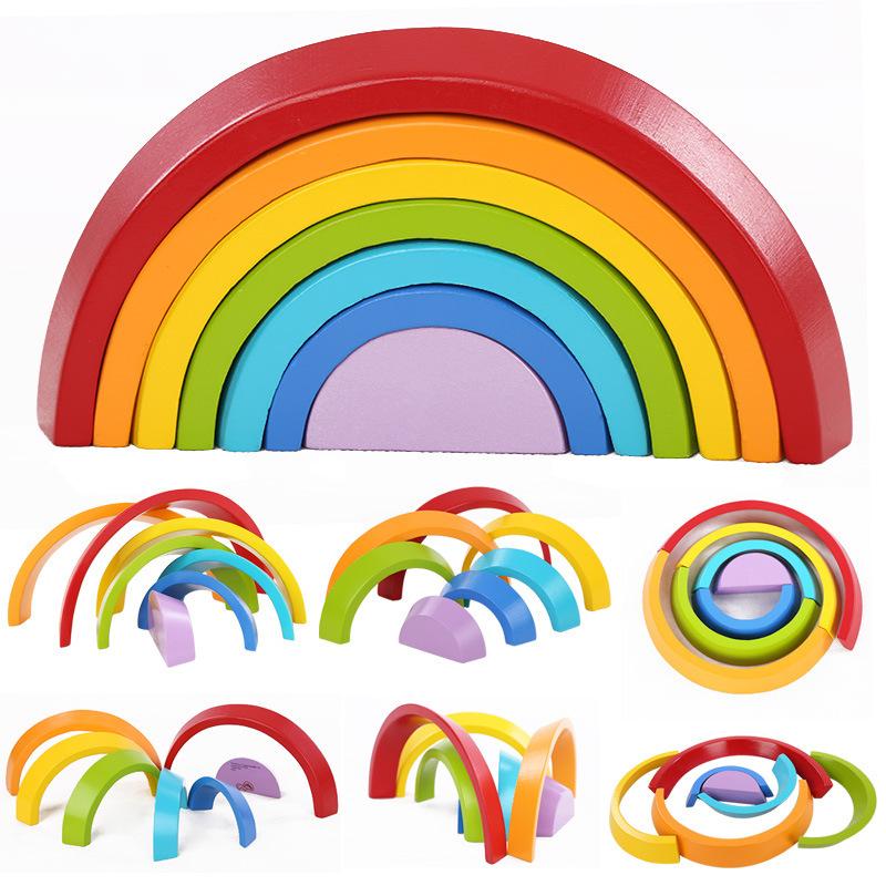 Лучший подарок на Рождество, строительные блоки радужного цвета для раннего развития детей, деревянные игрушки для детей, 2020 игрушки