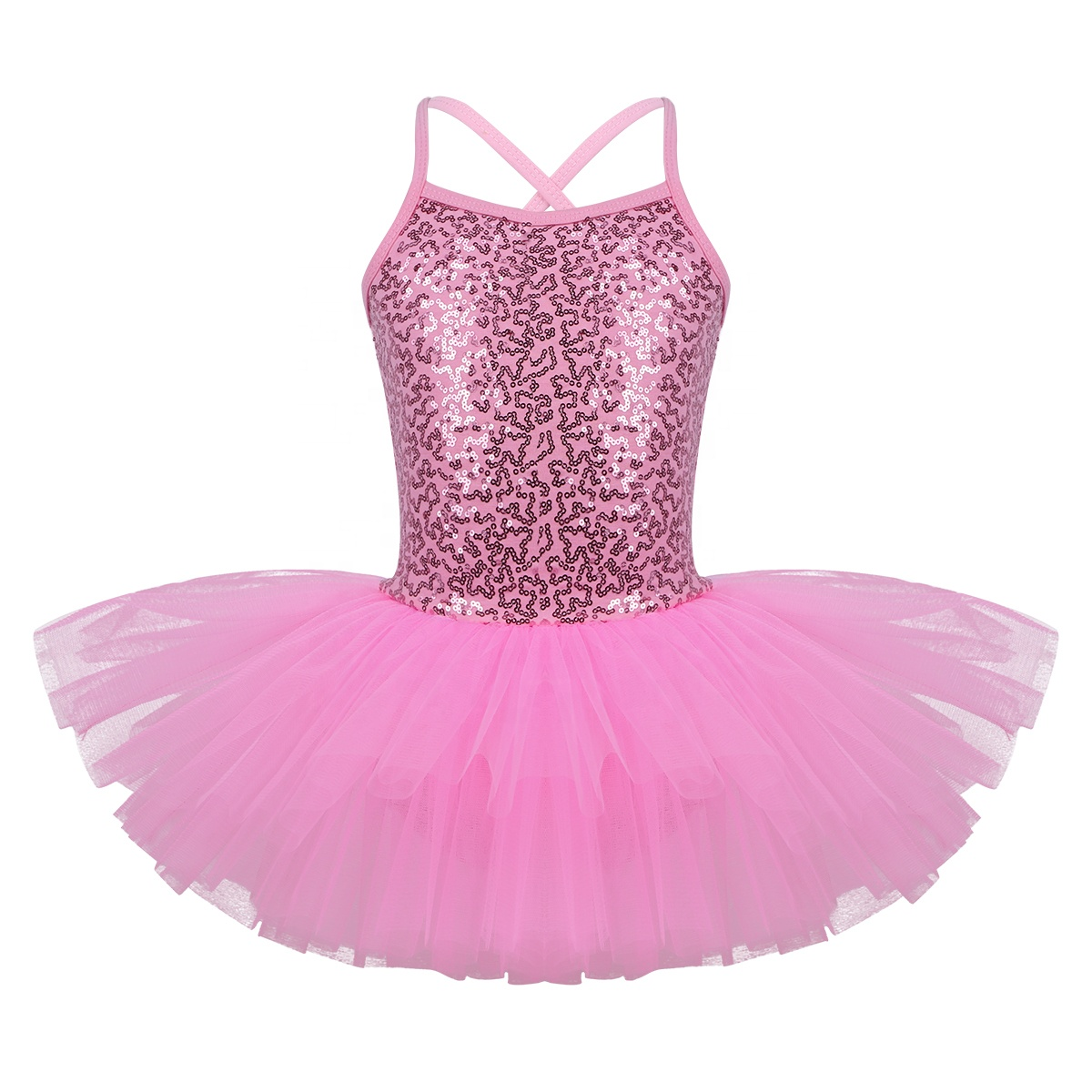 UK Kids Girls Sequined Ballet Dance Dress Gymnastics Leotard Ballerina Costume