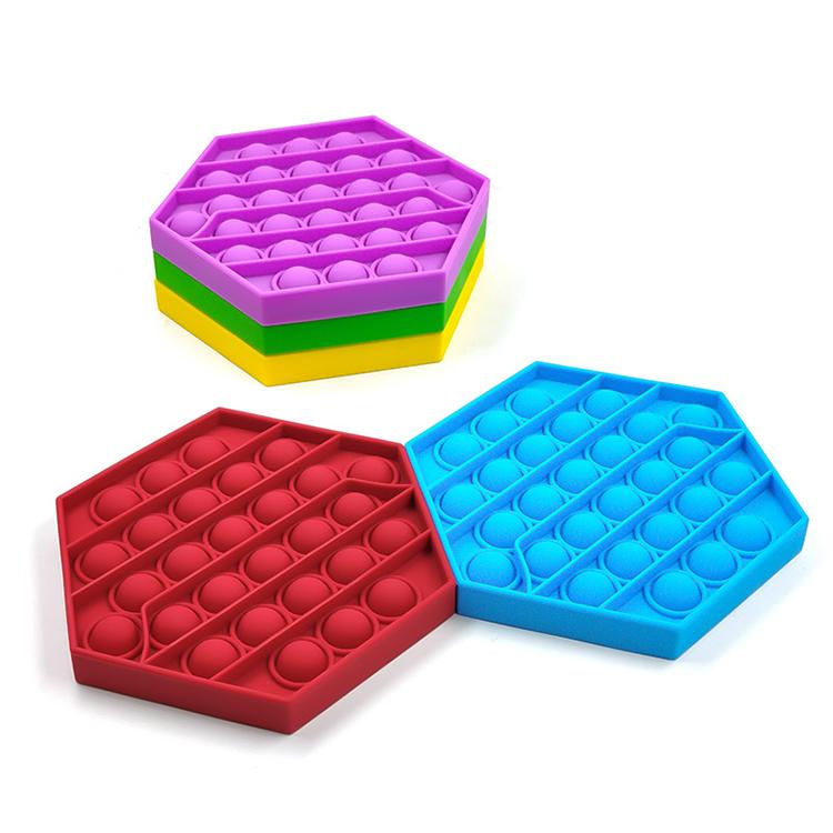 Силиконовый пуш-ап Popping пузырь Популярные счастливый ребенок интеллигентая (ый) игра Развивающие деревянные Обучающие лабиринт игрушки для детей