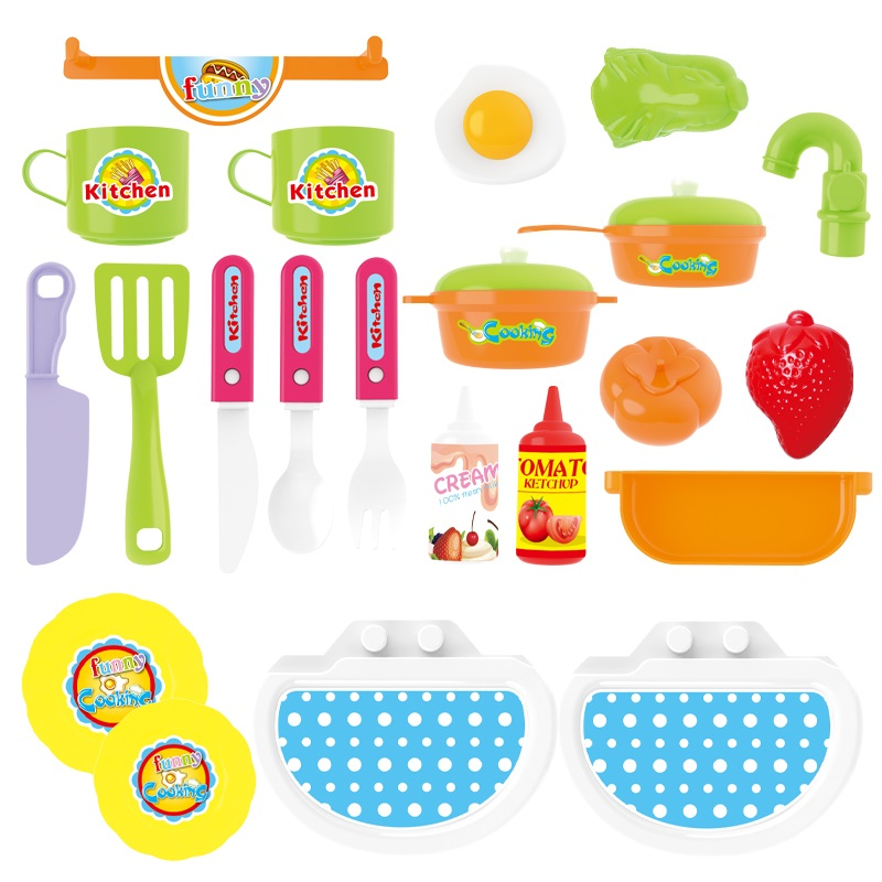 Popular Backpack Electric Plastic Cooking Tool Pretend Play Kitchen Set Tableware Toy With Light And Sound