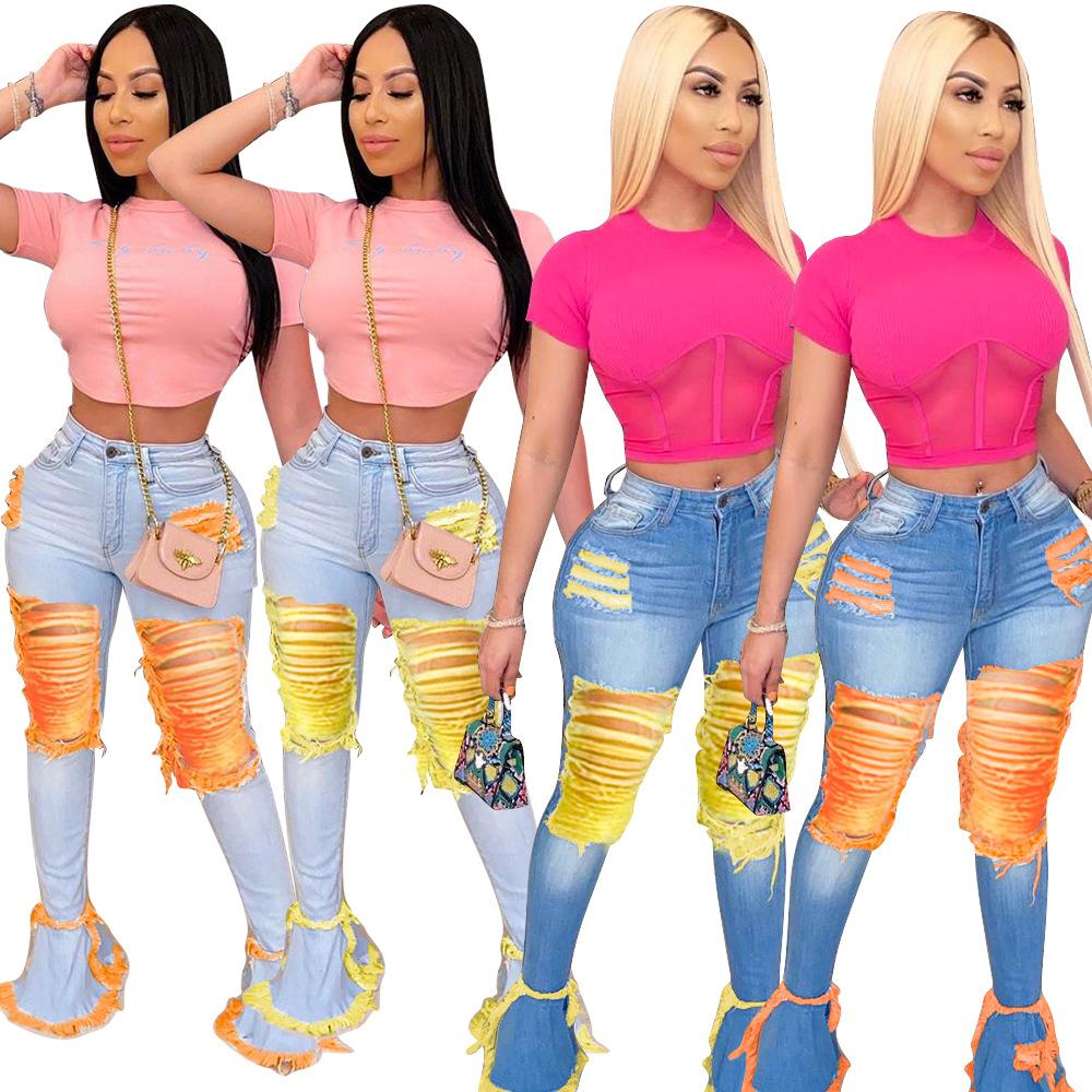 Celana Jeans Wanita Potongan Bot Celana Denim Wanita Lubang Cuci Dan Gerinda 2021 Buy Wanita Mencuci Jeans Dan Penggilingan Lubang Rumbai Celana Denim Jeans 2021 Baru All Match Boot Cut Celana Kualitas Tinggi Pantalones Jeans