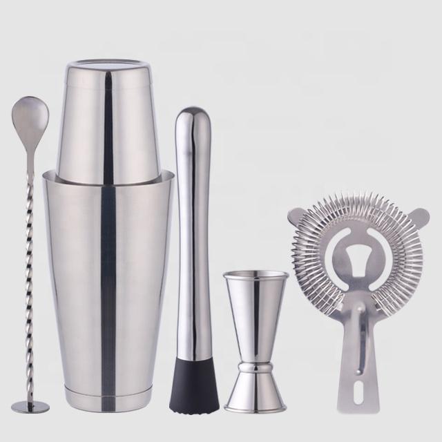 Factory Direct 800ml stainless steel shaker boston cocktail gift barware tool set