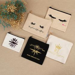 Оптовая продажа, тканевая хлопковая простая холщовая косметичка на молнии с принтом логотипа