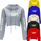 Hoodie Hoodie Hoodie Wholesale Cotton Ladies Blank GYM Long Sleeve Tracksuit Crop Tops Women's Jogger Sweatshirt Custom LOGO Cropped Hoodie For Women